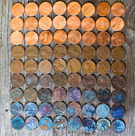penny mosaic tile - sample board showing copper penny patina - tumblr via atticmag