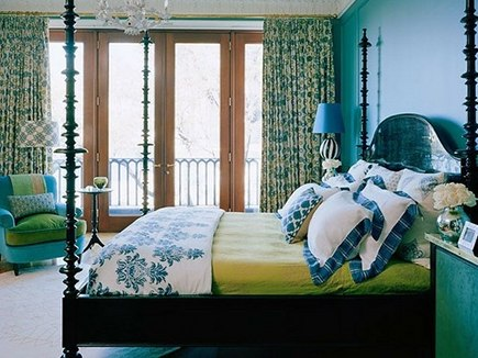blue and green bedrooms - master bedroom with turquoise walls and green accents by Hamilton Design Associates via Atticmag