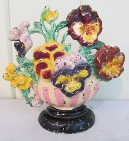 Hubley flower door stops - cast iron pink stripe pansy bowl doorstop, number 456 - Atticmag