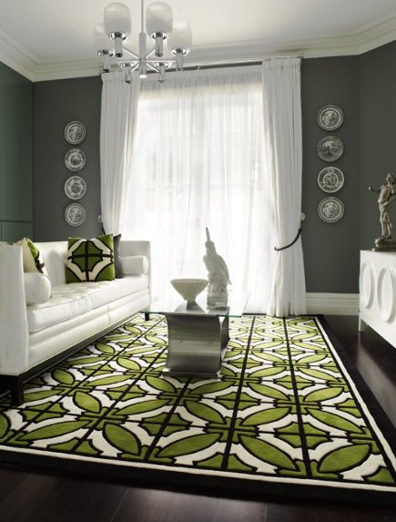 vivid pattern floors - olive green, black and white geometric pattern tile style carpet - greg natale via atticmag