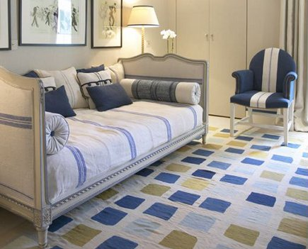 vivid pattern floors - blue and green color block dhurrie carpet - Jane Churchill via Atticmag