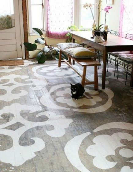 vivid pattern floors - scuffed wood plank floor paint-decorated with stencil shapes - makezine via atticmag