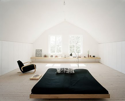 attic bedrooms - contemporary Scandinavian bedroom in an attic space - nordic think via Atticmag