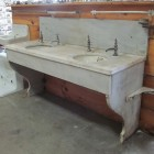 architectural salvage - vintage double marble sink with legs and backsplash - Nor'East Architectural Antiques via Atticmag