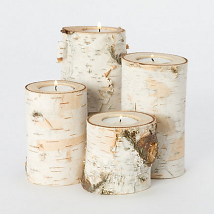 natural wood home accessories - fallen birch bark candle votives from shop terrain via Atticmag