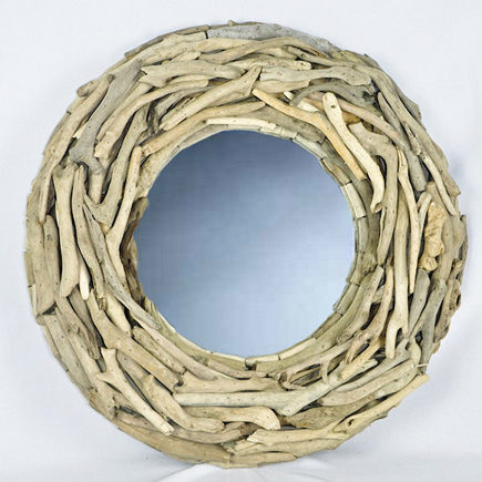 natural wood home accessories - driftwood mirror wreath from Decorative Branches UK via Atticmag