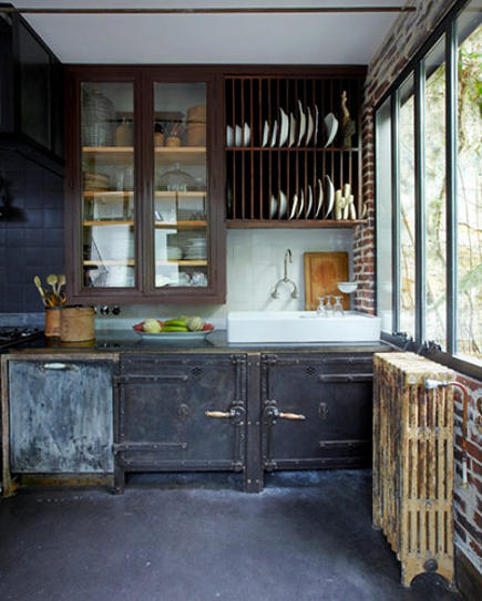 kitchen plate racks - double-tier plate rack installed high above a sink - the guardian via atticmag