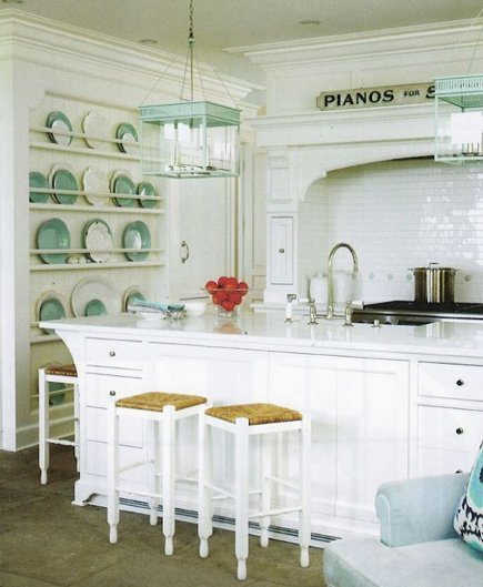 kitchen plate racks - large white-painted platerack built on the surface of a wall - lynne morgan via atticmag