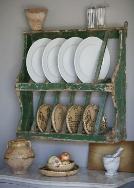 kitchen plate racks - small, green vintage French provincial wall-hung plate rack - j covington home via atticmag