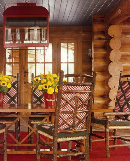 designer log cabin - Idaho timber vacation home with red, green and blue winter theme decor by Anthony Baratta - AD via Atticmag