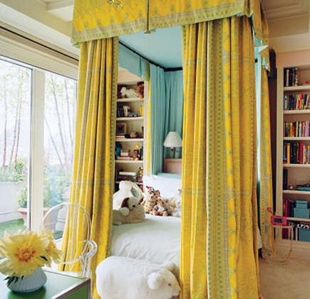 canopy bed - floor to ceiling vibrant yellow canopy bed with fabric by Sandra Loveland Bragdon - Vogue via Atticmag