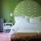 shaped headboards - round shaped headboard based on Art Deco style - Canadian House & Home via Atticmag