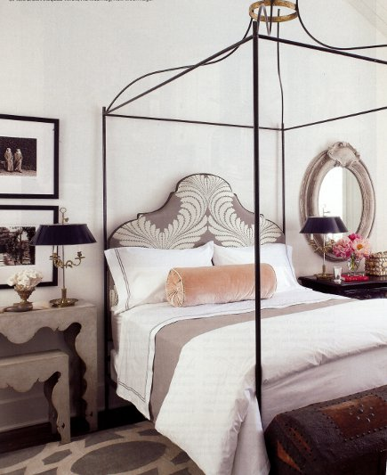 Shaped headboards - Italian wrought iron bed with upholstered shaped headboard from Tara Shaw Maison via Atticmag