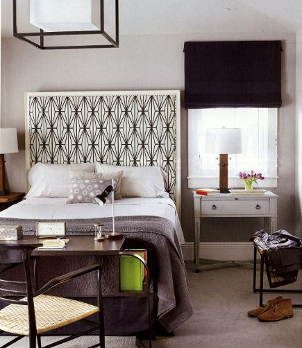 shaped headboards - square shaped headboard with a white frame, upholstered in black and white fabric - House Beautiful via Atticmag