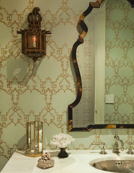 wallpaper styles - gold arabesque geometric wallpaper with pale green ground - Lee Ann Thornton via Atticmag