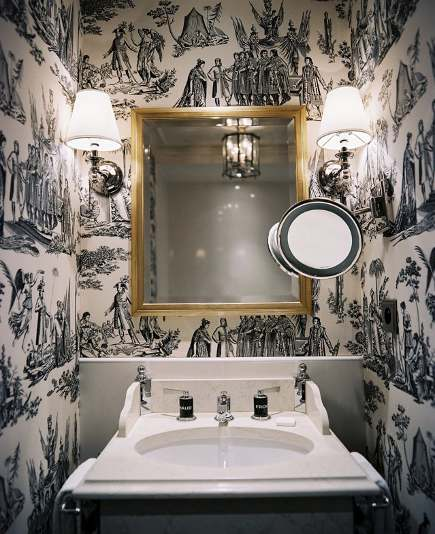 wallpaper styles - black and white Napoleonic toile figural pattern wallpaper - LonnyMag via Atticmag