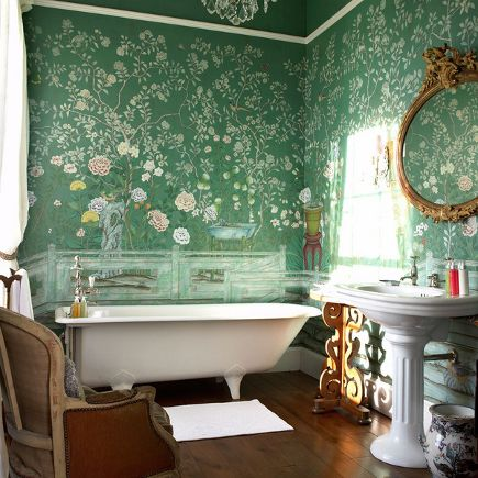 wallpaper styles - degournay scenic Chinoiserie wallpaper with green background - DeGournay via Atticmag