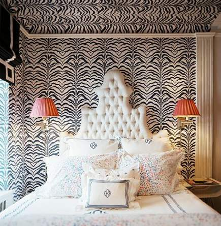 wallpaper styles - black and white zebra animal print wallpaper in a bedroom - Elizabeth Bauer via Atticmag