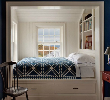 blue and white bedrooms - blue and white pieced quilt in the white nook of a cobalt blue bedroom - John B Murray via Atticmag