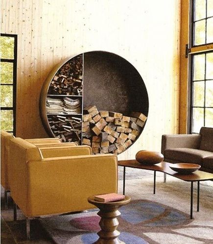 firewood storage - custom circular interior firewood wall storage - apartment therapy via atticmag