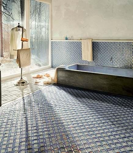 halloween home decor - spooky SICIS Italian art mosiac factory tiled bathroom - via atticmag