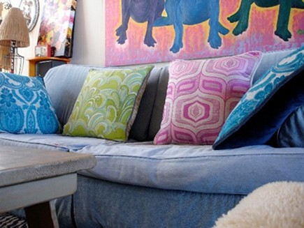 vintage fabric pillows - made from vintage Scandinavian curtains by Euro-Linens at Patine via Atticmag