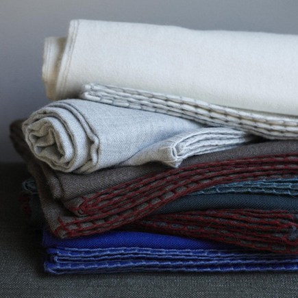 sustainable material gifits - luxurious premium weight 100% baby alpaca throws with blanket stitch edge - Canvas Home Store via Atticmag