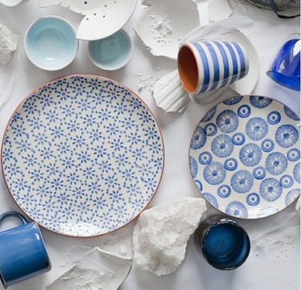 handmade blue and white glaze dinnerware from Canvas Home Store