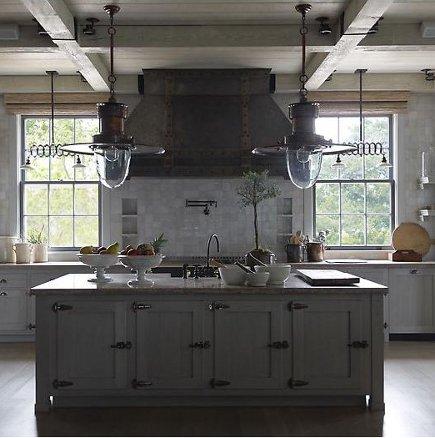 gray kitchens - tone-on-tone gray industrial style kitchen - SR Gambrel via Atticmag