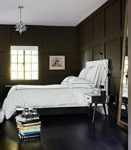 dark bedroom walls - wood-paneled walls painted charcoal gray - houseandhome via atticmag