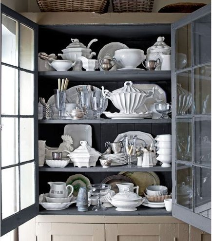 interior cabinet color - white china cabinet with medium gray cabinet interior - country living via atticmag
