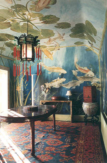 boho style rooms - dining room with Michael Dillon koi fish swimming and oriental furnishings - chinoiserie chic via Atticmag