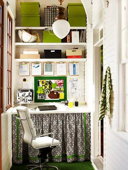 enclosed back porch with an alcove desk area with fabric skirt from BH&G - via Atticmag