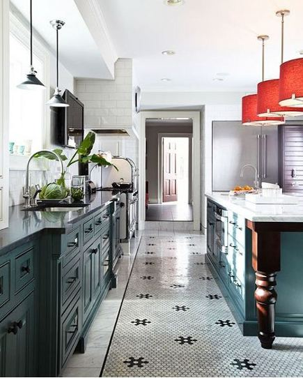 dark green kitchen s- kitchen with inky green base cabinets, white walls and hex pattern tile floor by Laura Casey Interiors via Atticmag