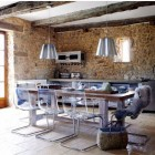 stonewall kitchens - modern kitchen with stone walls