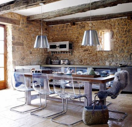 stonewall kitchens - modern kitchen with stone walls