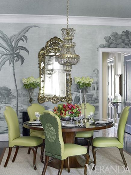 embroidered chair backs - two tone green dining room chairs with embroidered medallion backs - Veranda via Atticmag