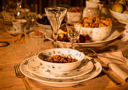 Royal Copenhagen Christmas tables - 2012 musical theme Christmas table with blue fluted china - via Atticmag