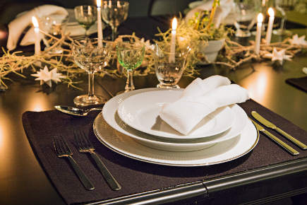 Royal Copenhagen Christmas tables - 2012 musical theme Christmas table via Atticmag