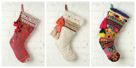 handmade tinsel and lace Christmas stockings from FP ONE via Atticmag