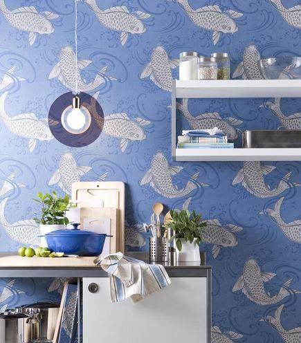 Osborne & Little Derwent koi wallpaper - wunderweib via atticmag