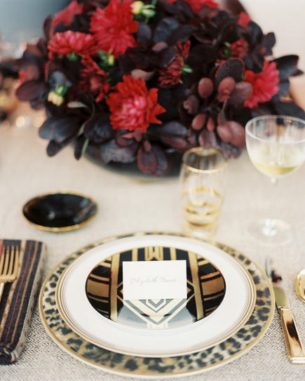 holiday table with tailored, masculine look dishes and flatware - house & garden via atticmag