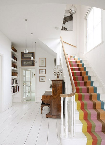 colorful striped staircase runner - decor8 via atticmag