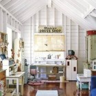 attic rooms - whitewashed Mom-closet craft room and child's play room - Baomida Interior Design via atticmag