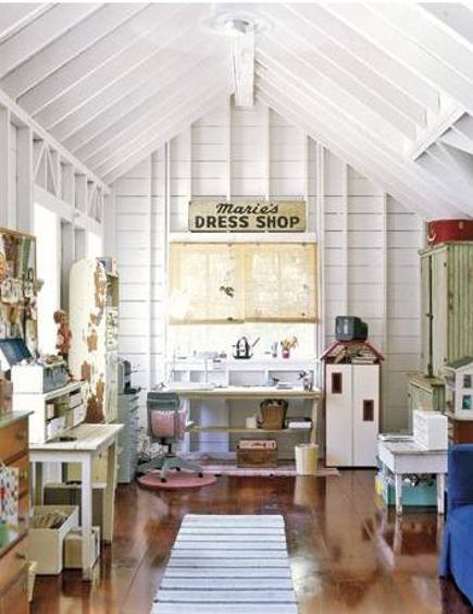 whitewashed attic Mom-closet craft room and child's play room