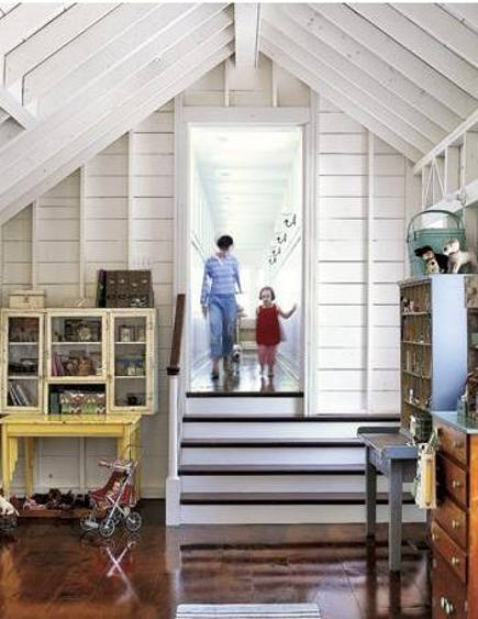 attic rooms - whitewashed attic Mom-closet craft room and child's play room - Baomida Interior Design via atticmag