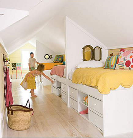 attic rooms - children's room with multiple dorm-style beds - apartment therapy via atticmag