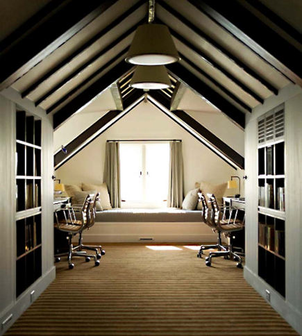 attic rooms - home office with storage and a lounging area - dot-dot-dot via atticmag