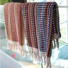multi-color Turkish bath towels from Michele Keeler Home - via atticmag