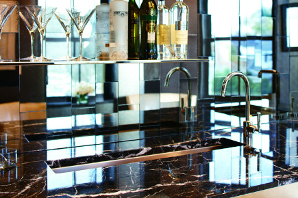 beverage bars - Crystal Clear inspiration room bar by Mick de Giulio at Kohler headquarters - via atticmag